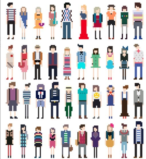 Free Vector Fashion Pixel People Collection 03