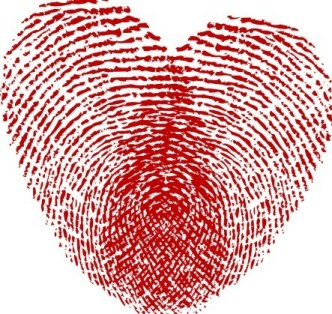 Vector Red Fingerprint Love Heart