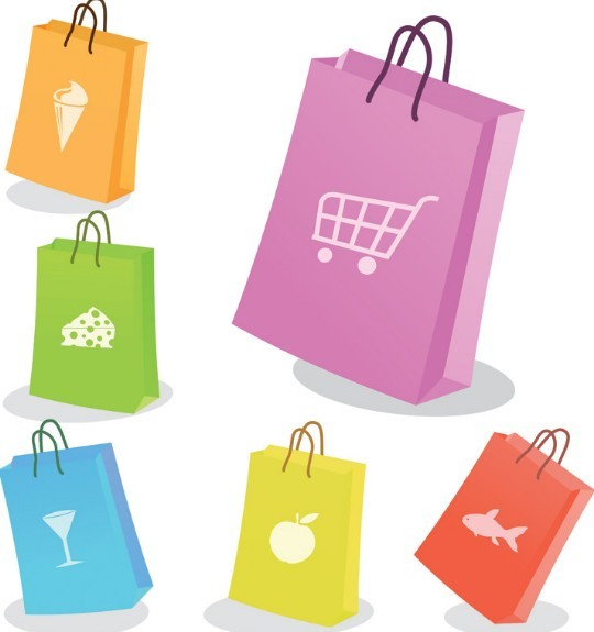 Set Of Vector Colored Paper Shopping Bags