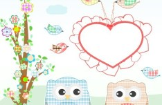 Vector Illustration Of Cute Owls with Hearts 01