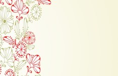 Colorful Line Drawing Flowers Vector
