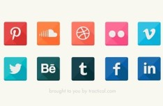 Flat Social Icons with Bottom Right Shadows PSD