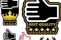 Set Of Vector Best Quality Thumbs Up Labels