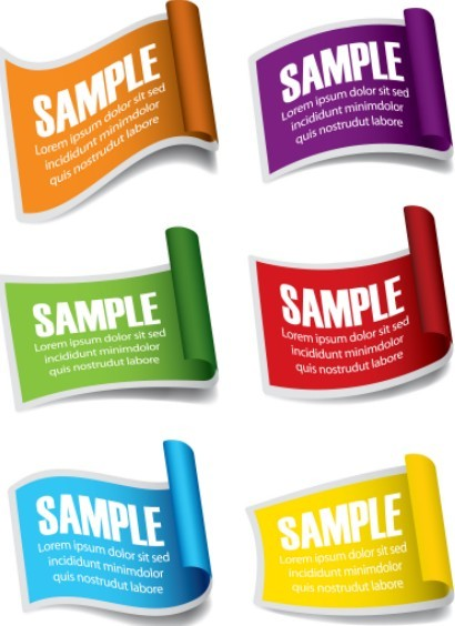 Set Of Vector Paper Roll Label Stickers