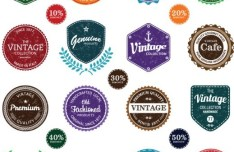Set Of Vintage Styled Vector Stickers 01