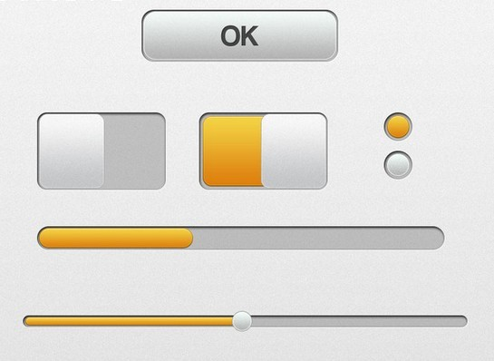 Yellow and Grey GUI Elements PSD