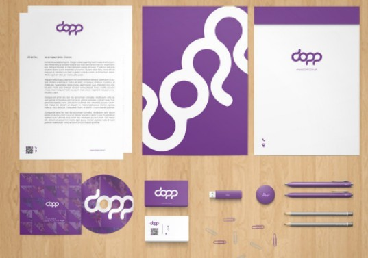 Fashion Purple Stationery Branding PSD Mockup