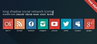 Flat Long Shadow Social Icons (PSD Included)
