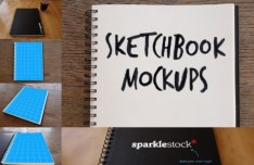 Photorealistic Sketchbook PSD Mockups