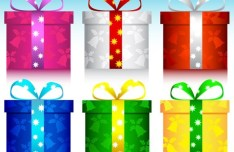 6 Colors Christmas Gift Boxes with Ribbon Bows Vector