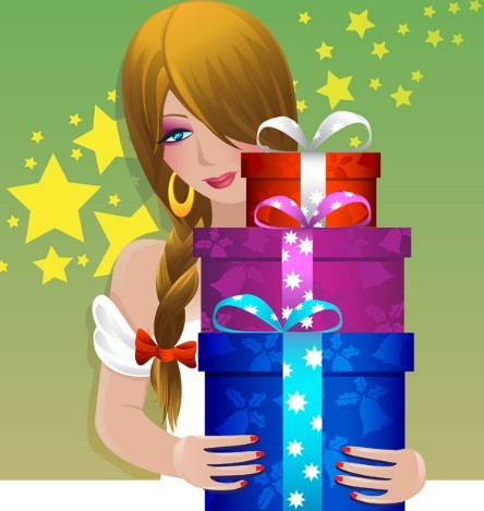 Beautiful Girl With Gift Boxes Vector