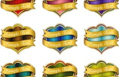 Collection Of Vector Heart-Shaped Stickers with Golden Ribbons