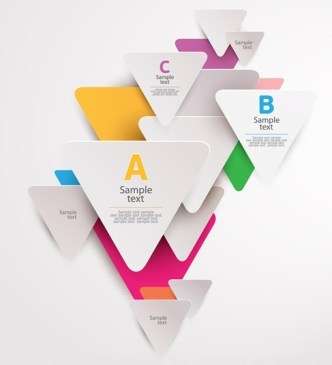 Colored 3D Triangle Lables For Infographic Vector