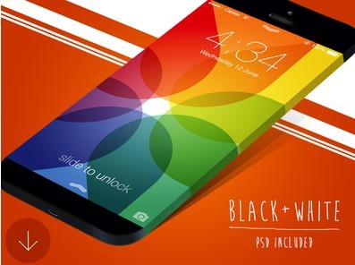 Black And White iPhone 6 PSD Mockup