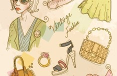Vector Vintage Illustration Of Fashion Girl and Women's Accessories 02