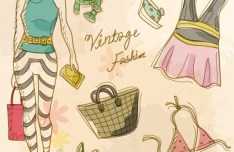 Vector Vintage Illustration Of Fashion Girl and Women's Accessories 05