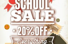 Clean Back To School Sale Flyer Template Vector 02