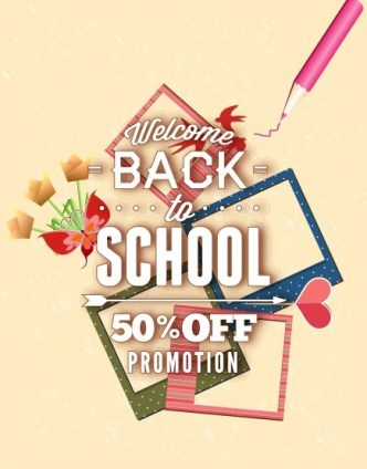 Clean Back To School Sale Flyer Template Vector 05