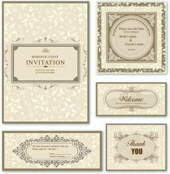 Elegant Wedding Invitation Card Design Vector 01
