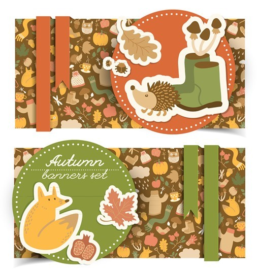 Set Of Vector Beautiful Autumn Banners 05