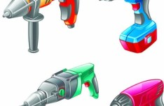 Set Of Vector Electric Power Tools