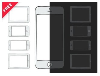 Vector Illustration Of Dark and White Mobile Devices