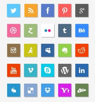 25 Minimal Social Icons with Shadows PSD