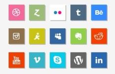 25 Minimal Social Icons with Shadows PSD