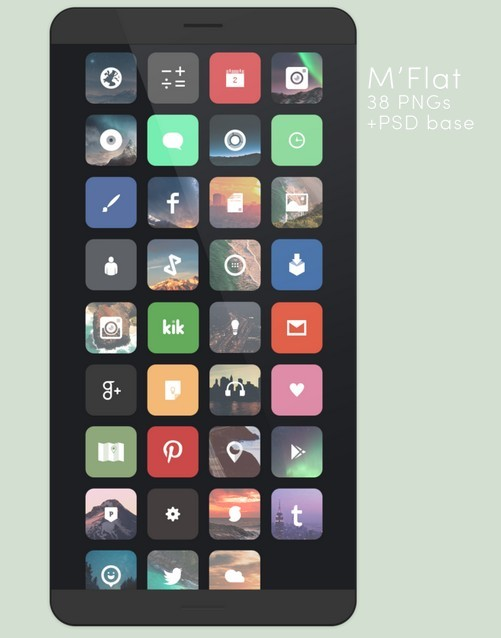 38 Flat Glyph App Icons (PSD Included)