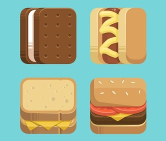 4 Flat Food Icons Vector