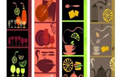 Set Of Vintage Vertical Food and Drink Banners Vector