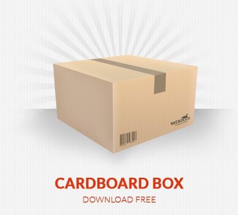 Simple Corrugated Cardboard Box PSD