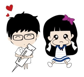 Vector Illustration of Cute Cartoon Boy and Girl
