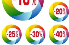 Creative Colored Sale & Discount Labels Vector 02
