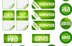 Set Of Vector Green 100 Pro & 24h Search Labels
