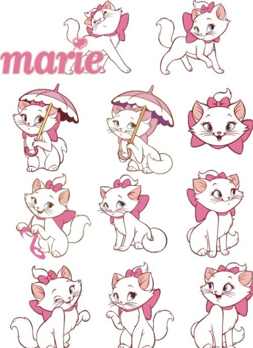 Vector Disney Marie Cat Set 01