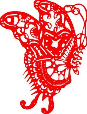 Vector Red Butterfly Paper Cutting