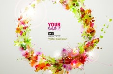 Bright & Colorful Grunge Splash Flower Background Vector 01