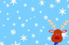Cartoon Christmas Elk and Snowflakes Background Vector 01