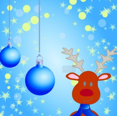 Cartoon Christmas Elk and Snowflakes Background Vector 04