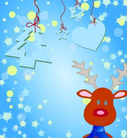 Cartoon Christmas Elk and Snowflakes Background Vector 05
