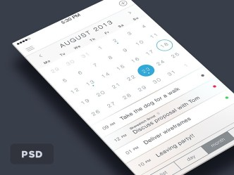 Clean iOS 7 Concept Calendar Interface PSD