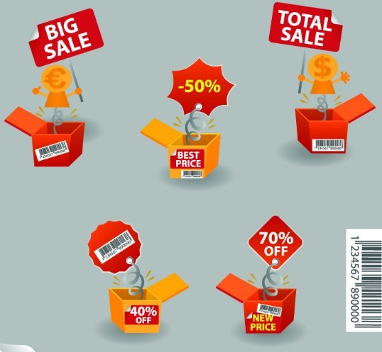 Creative Discount & Big Save Boxes Vector 01
