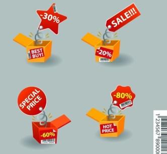 Creative Discount & Big Save Boxes Vector 02
