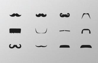 Mustache Icon Set PSD