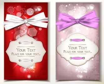 Set Of Vector Exquisite Gift Cards with Ribbon Bows 04