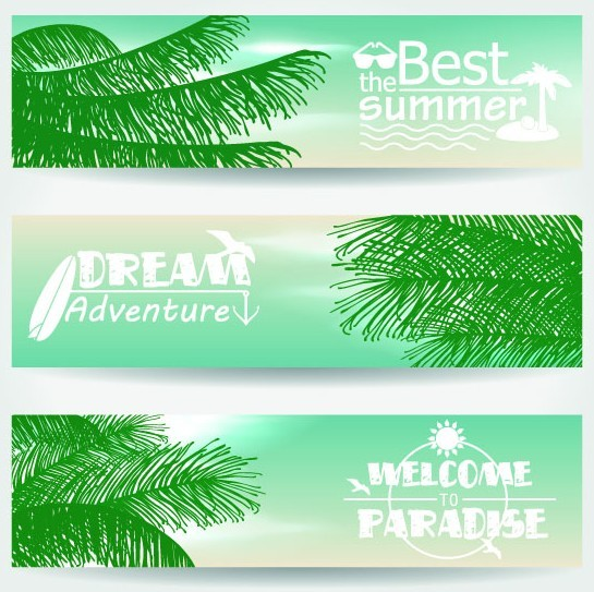 Set Of Vector Summer Paradise Banners 05