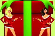 Set of Sexy Santa Girls and Red Gift Boxes Vector 04