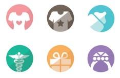 Flat Style Category Icon Set PSD