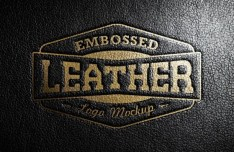 Leather Stamping Logo Mockup PSD